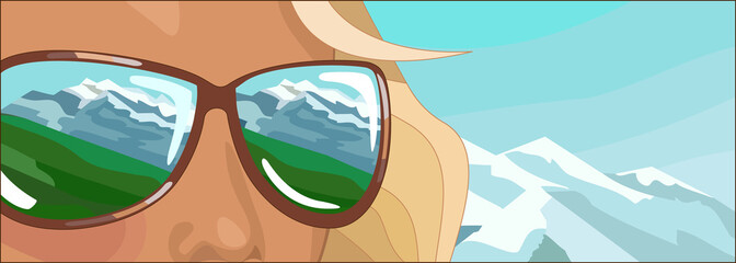 Young woman in holidays. Her sunglasses  reflect mountains