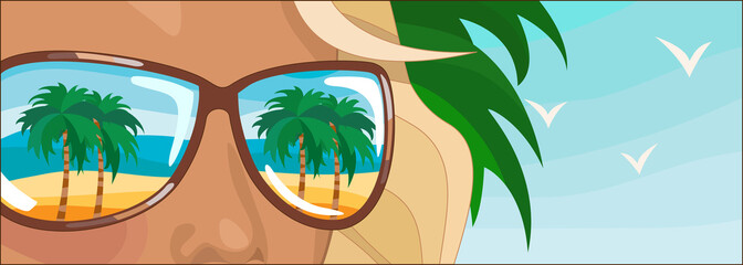 Young woman in holidays. Her sunglasses  reflect palm trees
