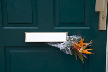 Bouquet of strelitzia flowers in a mailbox