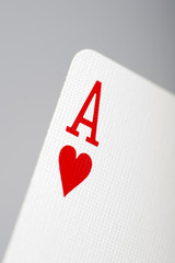 Macro picture of ace of hearts playing card