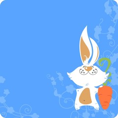 Easter card with a white bunny and carrot