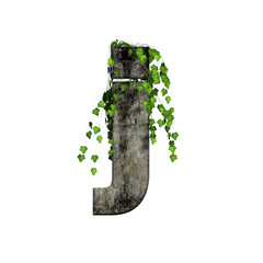 green ivy on 3d stone small letter