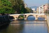 Sarajevo Bosnia and Herzegovina, old bridge on river poster