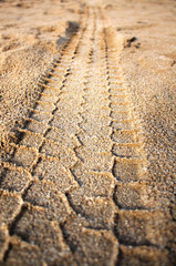 trace of the tread on sand