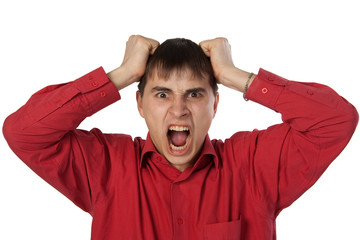 businessman in a red shirt screaming isolated on white