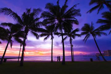 ワイキキビーチの夕景(Sunset of Waikiki Beach)