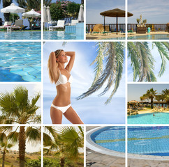 Collage of resort images with a young and fit woman