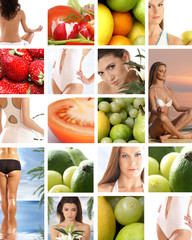 Collage of different dieting images