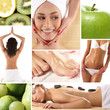 Collage of different spa treatment images with women and flowers
