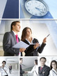 Business collage of people and time