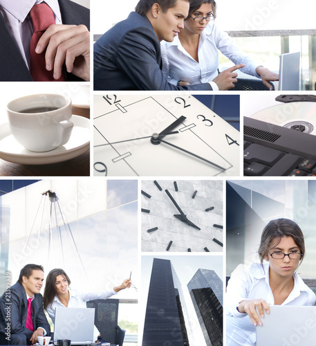 Business collage with people and time