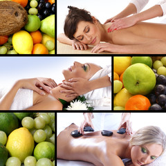 Collage of different spa treatment and nutrition images