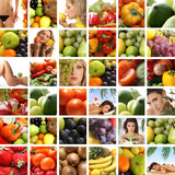 Collage of different spa treatment and nutrition images poster