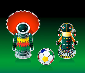 South african dolls with soccer ball