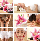Collage of different spa treatment images with women and flowers - 21399924