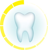 Tooth on a blue background and a symbol of hours around