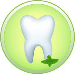 Round icon with the image of a human tooth and a mint branch