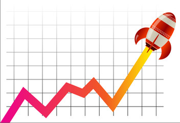 Business Graph with rocket going up, vector