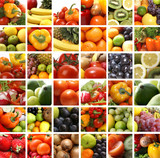 Nutrition collage of different fruits poster