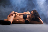 Sexy woman wearing erotic lingerie poster