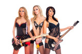 Female rock band with gutars and wearing erotic lingerie poster