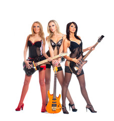 Female rock band with gutars and wearing erotic lingerie