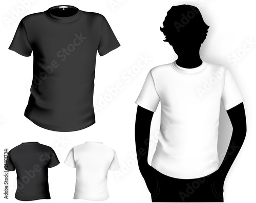 blank white shirt template. Men#39;s white and lack t-shirt