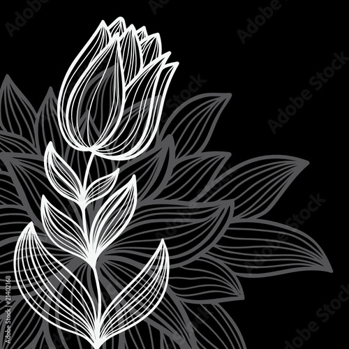 Foto op Plexiglas Bloemen zwart wit black floral background