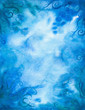 Hand-painted watercolor blue background.