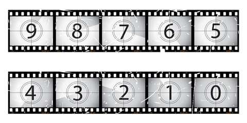 Old vector film countdown