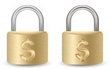 Safety Of Deposits Concept. A Padlock with dollar sign. poster