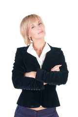 resolute blond woman in suit. Isolated over white .