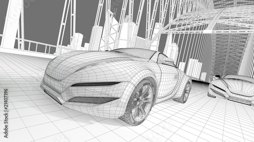 Wireframe concept car