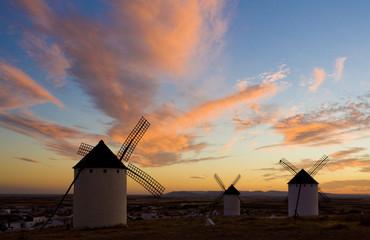 windmills at sunset, Campo de Criptana, Castile-La Mancha, Spain