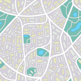 City map - seamless pattern of a invented city without names