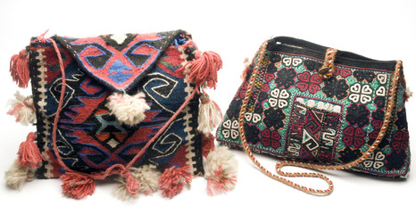 two  hand made knitted turkish kilim handbag
