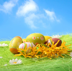 Easter Eggs sitting on grass field