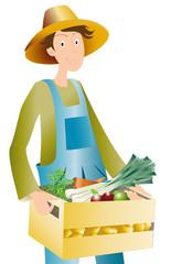 agriculteur et caisse de légumes