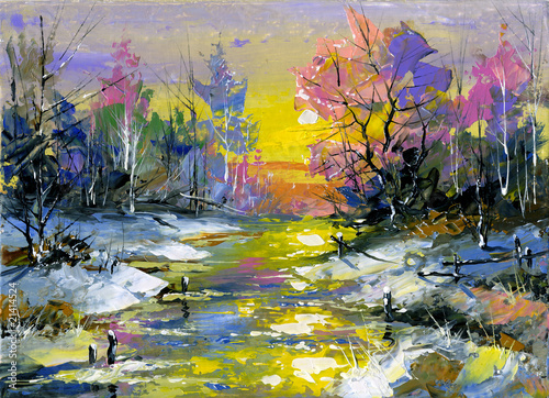 Winter landscape with the wood river
