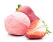 Erdbeereis auf weißem Hintergrund
