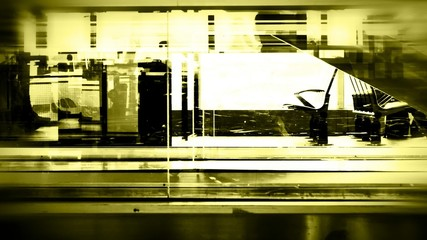 Blurred silhouettes at  Airport /train station,