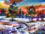 Fototapety water colour landscape