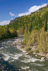 River landscape in Autumn time. Ural mountains. Russia