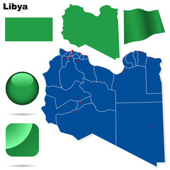 Libya vector set. Shape, flags and icons.