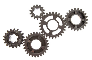Large mechanical gears linked together