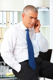 Mature businessman with phone