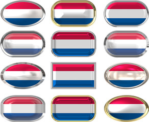 12 buttons of the Flag of Netherlands