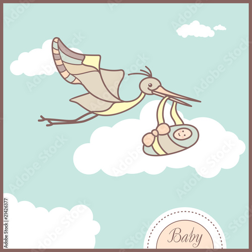 card with flying stork