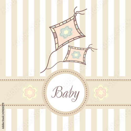 baby card with kite