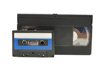 Audiocassette and videocassette isolated on white background